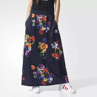 """Adidas"" Women Sports Casual Multicolor Flower Pattern Print Long Skirt"