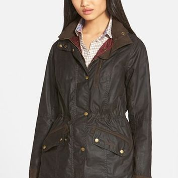 Women's Barbour 'Badminton' Waterproof Waxed Cotton Jacket,