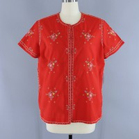 Vintage 1970s Cherry Red Floral Embroidered Blouse