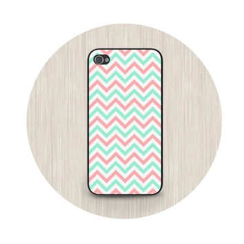 iPhone 5 case, iPhone 5C case, chevron iPhone case, mint and coral phone cases, iPhone 5S case, iPhone 4S case HT0004