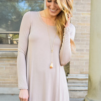 Fireside Long Sleeve Tee Shirt Dress Taupe