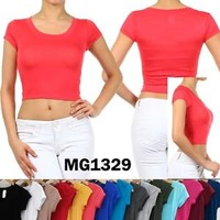 N21 Solid Plain Scoop Round Neck Short Sleeve Basic Cropped Tee Crop Top A0382