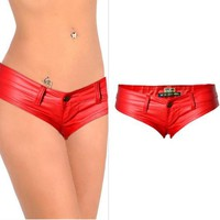Red Buttons Zipper Low-rise Fashion PU Leather Shorts