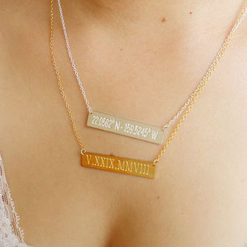 Bar Necklace,Gold Bar Necklace,Silver Bar Necklace,Personalized Bar Necklace,Horizontal Bar Jewelry,Custom Bar Necklace,Bridesmaid Gift