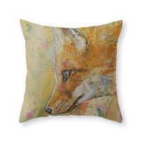 Society6 Red Fox Throw Pillow