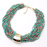 2016 Hot Sale Bohemia choker necklace vintage jewelry bead Necklaces & Pendants fashion exaggerated statement necklace for women