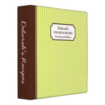 Trendy lime green polka dots personalized recipe binder
