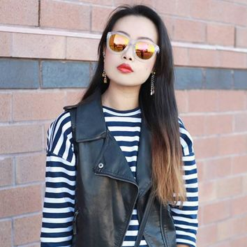 Crazy Frost Frame Mirrored Lens Oversize Sunglasses