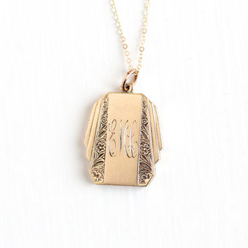 Vintage 9k Gold Filled Monogrammed Art Deco Locket Necklace - Antique 1930s 1940s Initial EMC WWII Picture Photo Jewelry