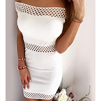 FASHION OFF SHOULDER HOLE NET DRESS