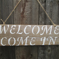 "Welcome Rustic Sign, Rustic Wood Sign, Cabin Sign, Reclaimed Wood Sign, 15"" x 5"""