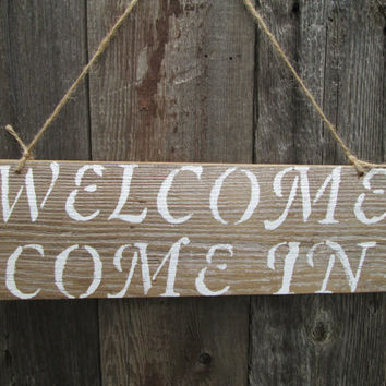 """Welcome Rustic Sign, Rustic Wood Sign, Cabin Sign, Reclaimed Wood Sign, 15"""" x 5"""""""