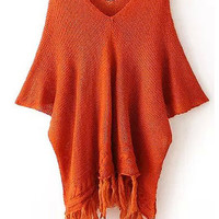 Orange V Neck Half Sleeve Fringed Buttons Knit Sweater