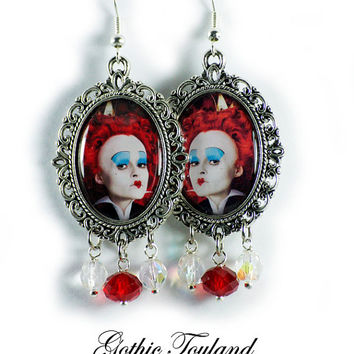 Tim Burton Queen of Heart Earrings Altered Art