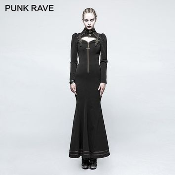 PUNK RAVE Steampunk Witch Stylish High Collar Skinny Long Dress Gothic Hollow Zipper Back Bandage Metal Button Women Dresses