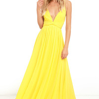 Evening Dream Yellow Maxi Dress