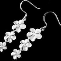 SILVER 925 HAWAIIAN 3 PLUMERIA FLOWER 12MM 10MM 8MM DANGLE WIRE HOOK EARRINGS CZ