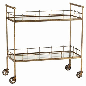 Arteriors Home Lisbon Vintage Brass/Glass Bar Cart