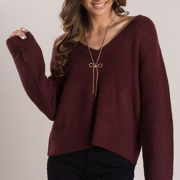 Lana Burgundy Knit V-Neck Sweater