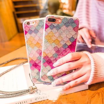 BlingBling Fashion Colorful 3D Scales Phone Cases For iPhone 6 6S Plus Case Korean Girls Mermaid Cover For Apple iPhone 7 7 Plus