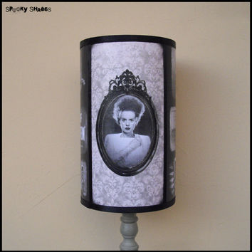 Frankenstein's Bride lamp shade Lampshade - halloween decor, horror decor, horror movie, goth decor, damask lamp shade