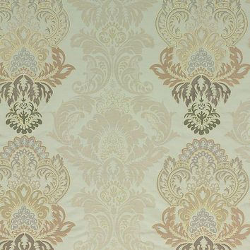 G P & J Baker Fabric BF10509.4 Waterford Damask Pewter/Linen