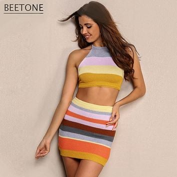 2017 summer sexy striped backless dress women vintage casual sleeveless knitted party dresses halter crop top elegant vestidos