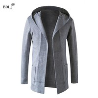 BDLJ 2017 New Fashion Long Trench Coat Men Coats Winter Mens Overcoat  Thick  Coat Leisure men's long trench coats