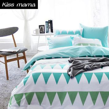 60S Cotton Bedding Set Nordic style Duvet Cover Set,Green linens Russia USA,Contain Duvet Cover Sheet PillowCase,Customized