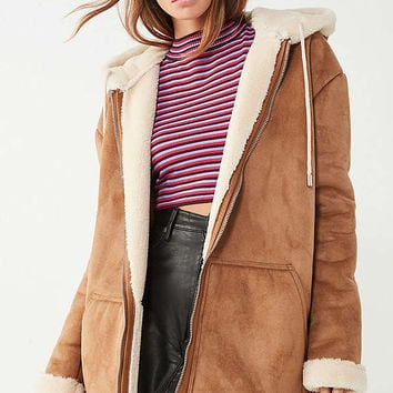 Silence + Noise Hooded Sherpa Aviator | Urban Outfitters