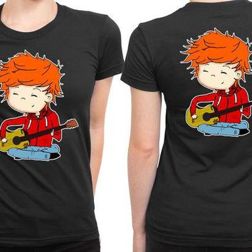 DCCKL83 Ed Sheeran Cartoon Large 2 Sided Womens T Shirt