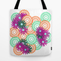 Flower design canvas tote bag