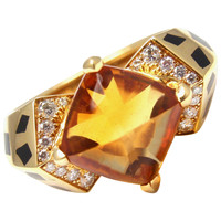 CARTIER Panther Panthere Black Lacquer Spot Diamond Citrine Yellow Gold Ring