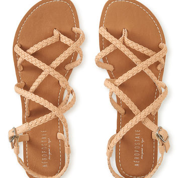 Aeropostale  Braided Gladiator Sandal - Black, 6