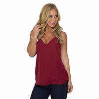 Jersey Shore Tank Blouse In Wine