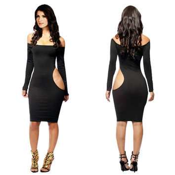 Black Off Shoulder Long Sleeve Side Cut Out Bodycon Midi Dress