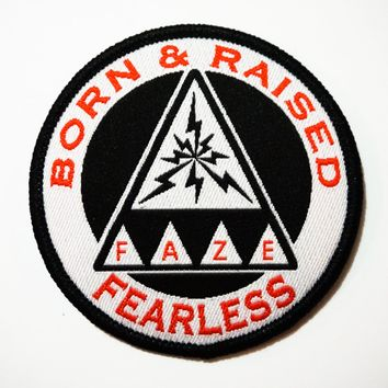 Born & Raised Fearless Patch in white and black