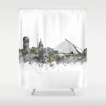 Dublin Skyline Shower Curtain by monnprint