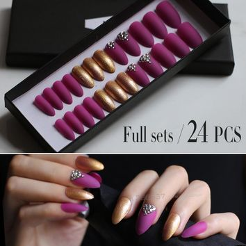Lots of golden glitter 10PCS 24PCS Matte Deep rose red stiletto nails false nail DIY 3d shiny press on fake nails Bling crystal