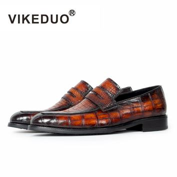 Vikeduo 2017 Original Design brand Luxury party Fashion Casual Crocodile Genuine Leather Alligator driving men Loafers Shoes