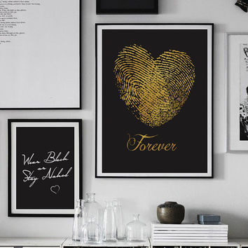 "Fingerprint Poster ""Forever"", Love Poster, Love Print, Modern Decor, Wedding Print, Bedroom Decor, Home Decor Print."