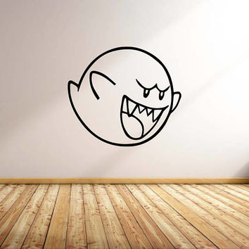 Vinyl Wall Word Decal - Super Mario Bros Boo Ghost - Home Decor - Wall Words - Man Cave - SNES - Game Room Decor