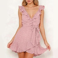 Elegant Pink V Neck Lace Short Dress Women Sexy Backless Lace up Mini Dress Female Ruffle Party Vestidos