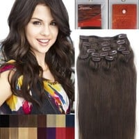 """18"""" Clip in Human Hair Extensions, 10pcs, 100g, Color #4 (Medium Brown) by Alexxis"""