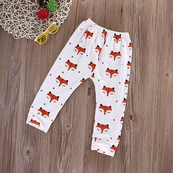 Cute new Kids Baby Boys Cotton Clothes Harem Pants for Girls Cat Fashion fox printed Long Trousers Cartoon Unisex Loose Outfits