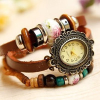 4 Colors -leather wrap watch, leather band wrist watch,wooden beads watch, leather wrist watches, Leather watch bracelet personalized  -B5