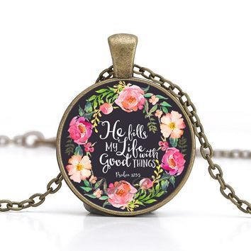 Bible Verses Necklace Vintage Bronze Chain Glass Cabochon Pendant for Women Christian Quote Jewelry Handmade Gift for Your Love
