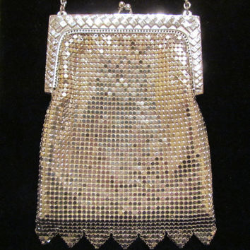 Silver Mesh Purse 1940's Purse Whiting And Davis Purse Vintage Purse Wedding Purse Formal Purse Evening Bag