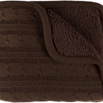 Surya Tucker Textural Knitted Throw - Brown