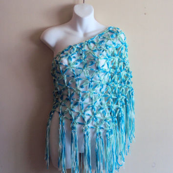 Crochet Summer Shawl Swimsuit Coverup Beachwear Shoulder Wrap Scarf Women's Clothing Fashion Accessories Mother's Day Gift
